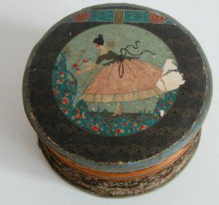 Nachlass Antike Pappschachtel Runde Schatulle Dose,  Rarität,  Aus Frankreich Bild