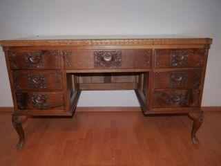 Schöner Antiker Damen - Schreibtisch / Altes Schreibmöbel Mit Schnitzereien Bild