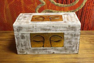 Truhe Schatztruhe Buddha Weiß Gold Massiv Kiste Box Aufbewahrung 60cm Bild