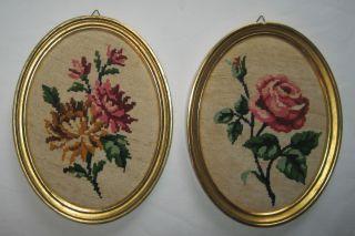 Allte Ovale Vergoldete Holzrahmen Mit Gobelin Bild