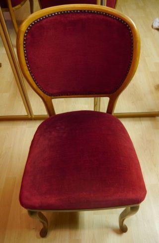 4 Stühle Mit Dunkel - Rotem Samtbezug Chippendale 1920er Jahre Bild