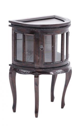 Teetisch Für Die Wand,  Dunkelbraun Mahagoni Beistelltisch Teeschrank Vitrine Bild
