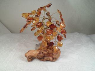 Dekoration Baum Aus Bernsteinblättern Holz Stein Vergoldeter Draht 12 X 11 X 8cm Bild