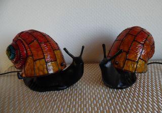 2 Tischlampen In Schneckenforn / Tffany Stil / Gusseisern / Glas Bild