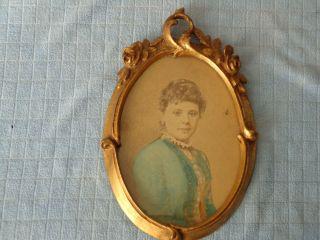 Antiker Bilderrahmen - Oval - Holz - Mit Frauenportrait Bild