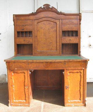Biedermeier Schreibtisch Mit Aufsatz - Birke - Ca.  1850 - Mit Geheimfach Bild