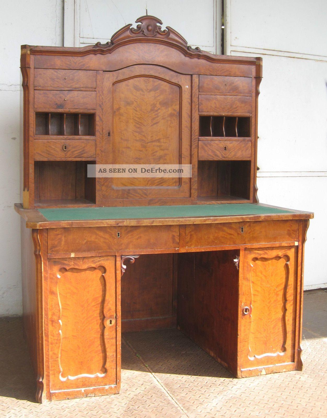 Biedermeier schreibtisch mit aufsatz birke ca 1850 for Schreibtisch mit aufsatz holz