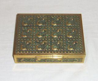 Altes Messingkästchen Schatulle Box Kasten Innen Holz - 13,  0 X 10,  5 X 3 Cm Bild