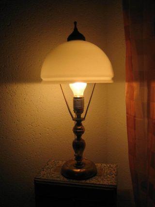Tischlampe Art Deco Messing Bronze Alt Antik Glasschirm Lampe Leuchte Bild