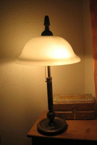 Schöne Tischlampe Art Deco Messing Bronze Alt Antik Glassch.  Lampe Leuchte Bild