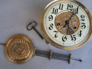 Freischwinger Uhrwerk Gustav Becker Komplett Mit Pendel U.  Schlüssel Bild