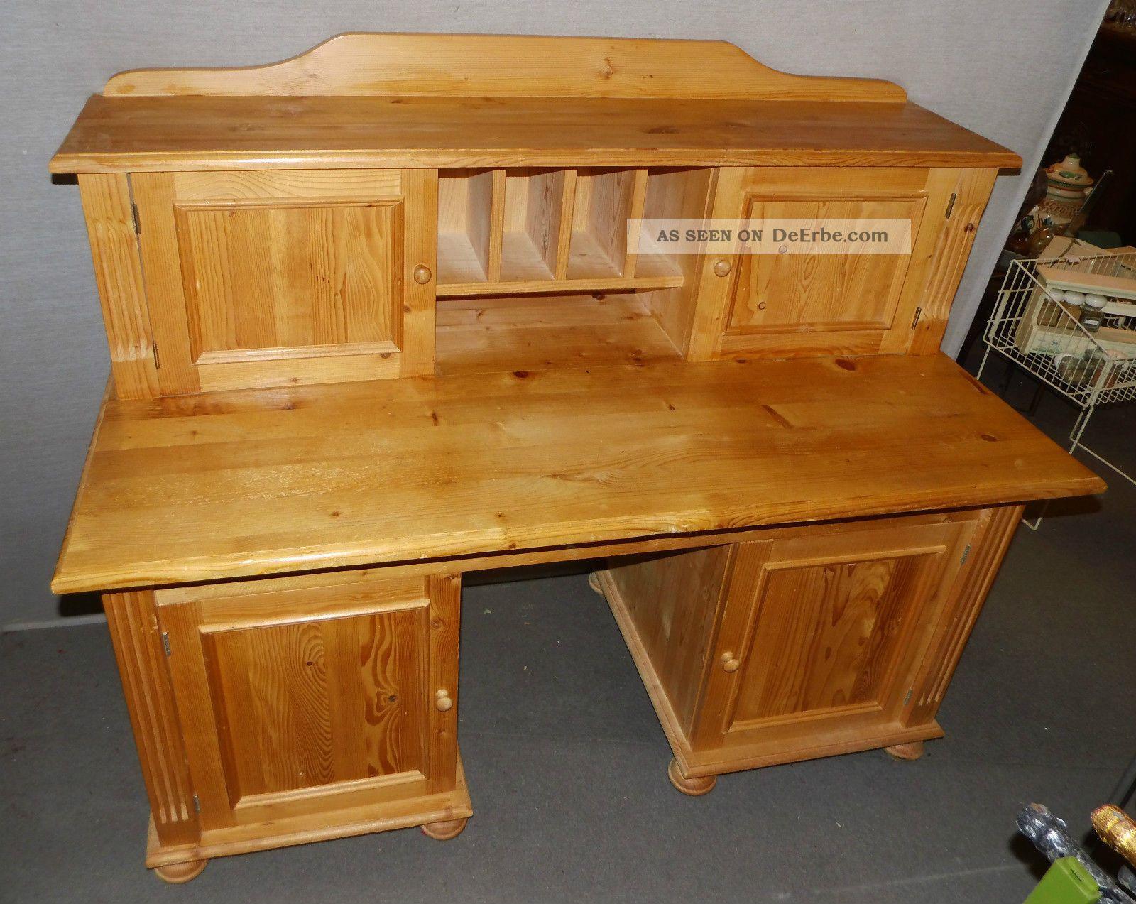 schreibtisch weichholz mit aufsatz aufbau tisch sekret r. Black Bedroom Furniture Sets. Home Design Ideas