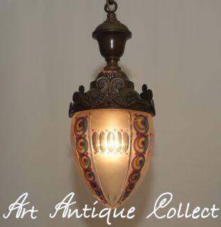 Rarität Um 1920 Art Deco Nouveau Lampe Deckenlampe Pendelleuchte Messing Glas Bild