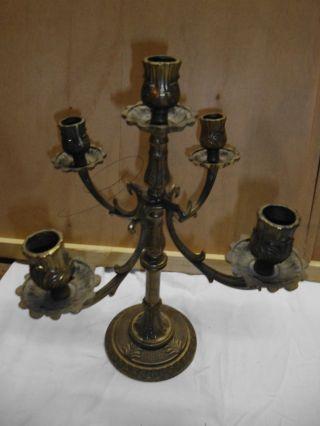 Kerzenständer,  Kerzenhalter - 5flammig Im Jugendstil Bronze Höhe 31cm Bild