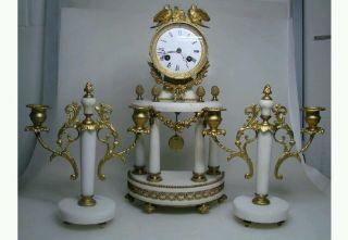 4 Säulen - Pendule Kaminuhrset Portaluhr Marmor Um 1880 Hochzeituhr Bild