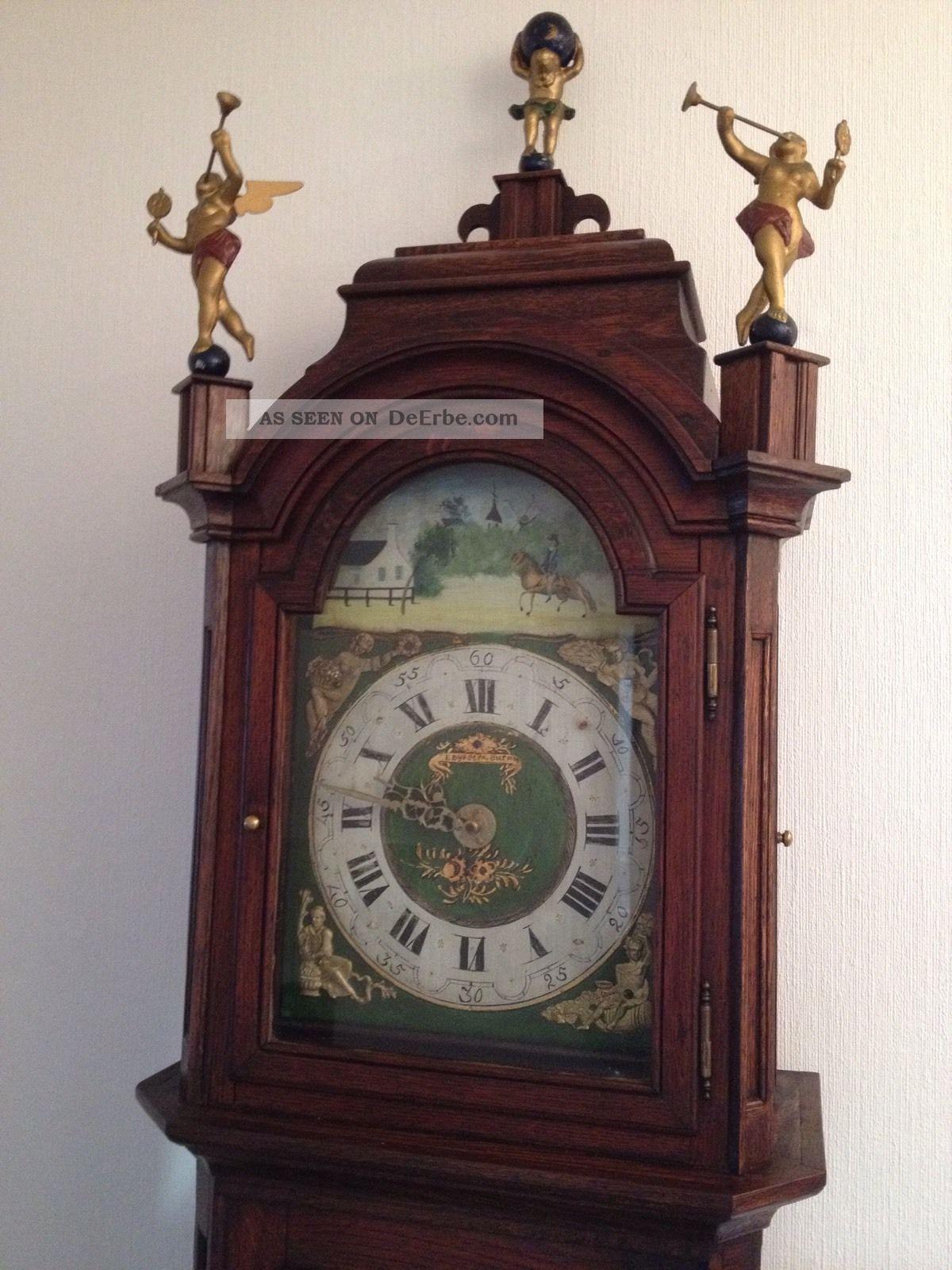 alte antike friesische standuhr eiche friesenuhr friese alter regulator clock. Black Bedroom Furniture Sets. Home Design Ideas