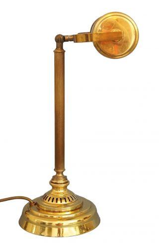 Klassische Jugendstil Schreibtischlampe Bankerleuchte Messing Bild