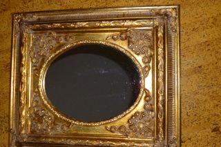 Dachbodenfund,  Barockrahmen Mit Ovalem Spiegel,  Holz Bild