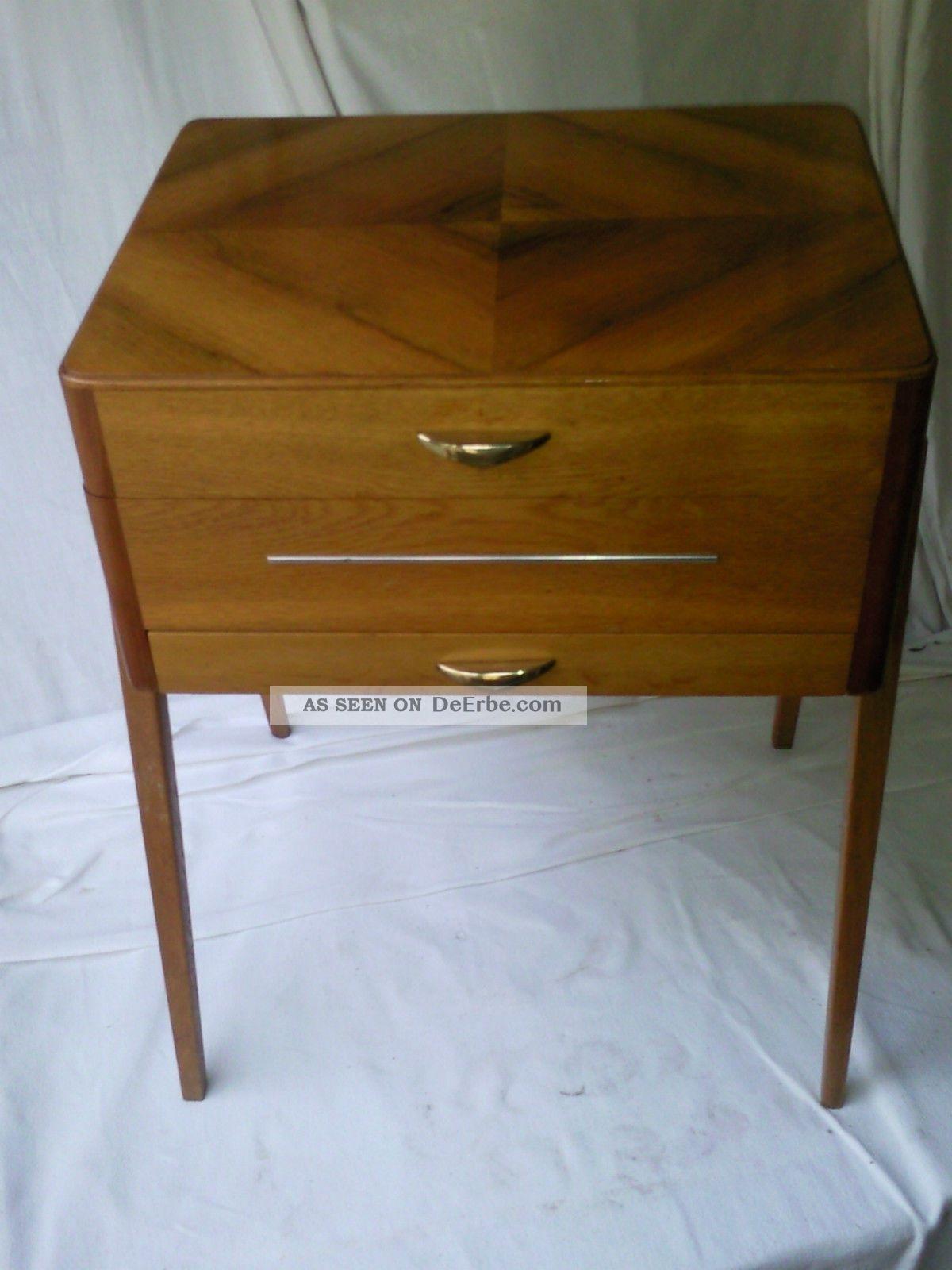 Alter kleiner n htisch tisch beistelltisch mit schublade for Kleiner schreibtisch mit schublade