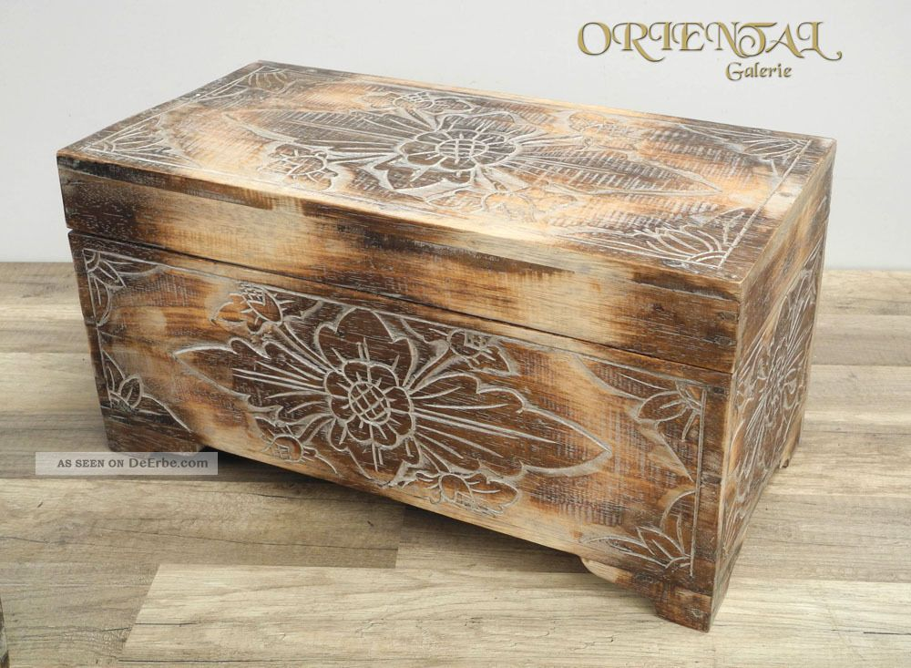truhe schatztruhe holz kiste box dose holztruhe blumen aufbewahrung 60cm. Black Bedroom Furniture Sets. Home Design Ideas