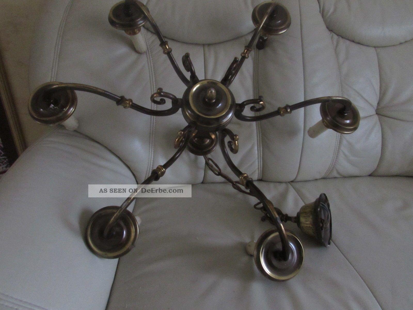 alt sehr sch ne kronleuchter l ster deckenlampe messing lampe mit 6 flaming. Black Bedroom Furniture Sets. Home Design Ideas