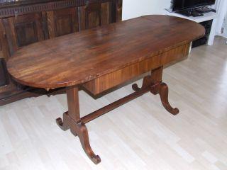 Tisch Kirschbaumholz Antiquität Sekretär Schreibtisch Oval Ausklappbare Seiten Bild
