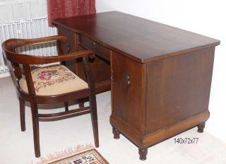 Antiker Schreibtisch Mit Passendem Stuhl - Eiche - Gründerzeit Bild