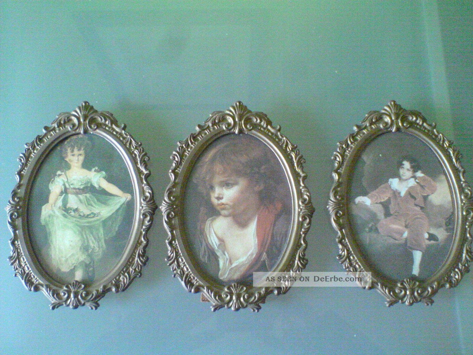 3 ganz alte schwere ovale bilderrahmen messing bronze mit alten bildern barock. Black Bedroom Furniture Sets. Home Design Ideas
