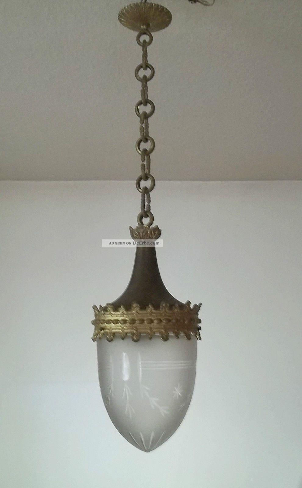 jugendstil lampe deckenlampe geschliffenes glas bronze. Black Bedroom Furniture Sets. Home Design Ideas