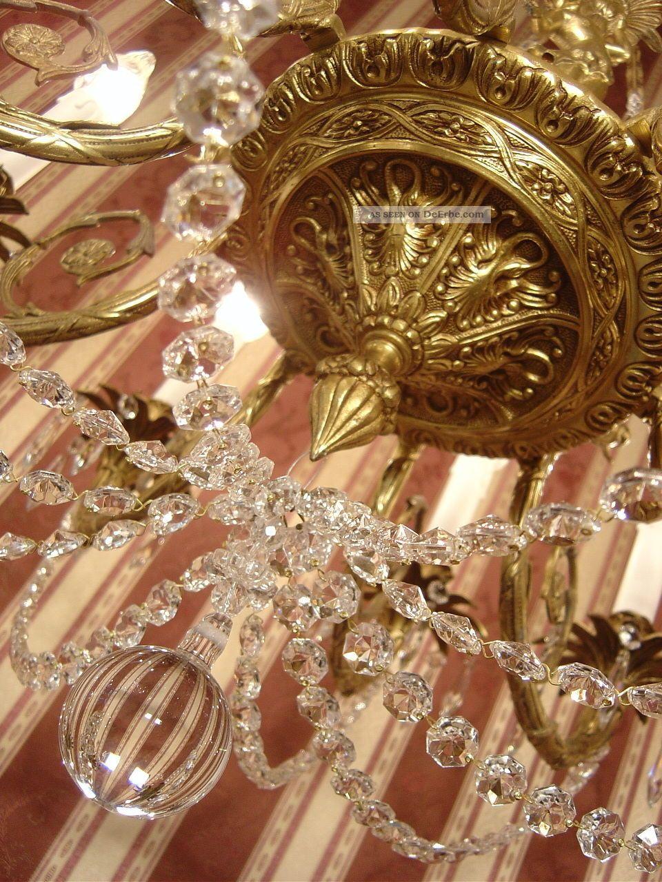 8 fl l ster kronleuchter gold bronze alte lampe gro e putten messing antik. Black Bedroom Furniture Sets. Home Design Ideas