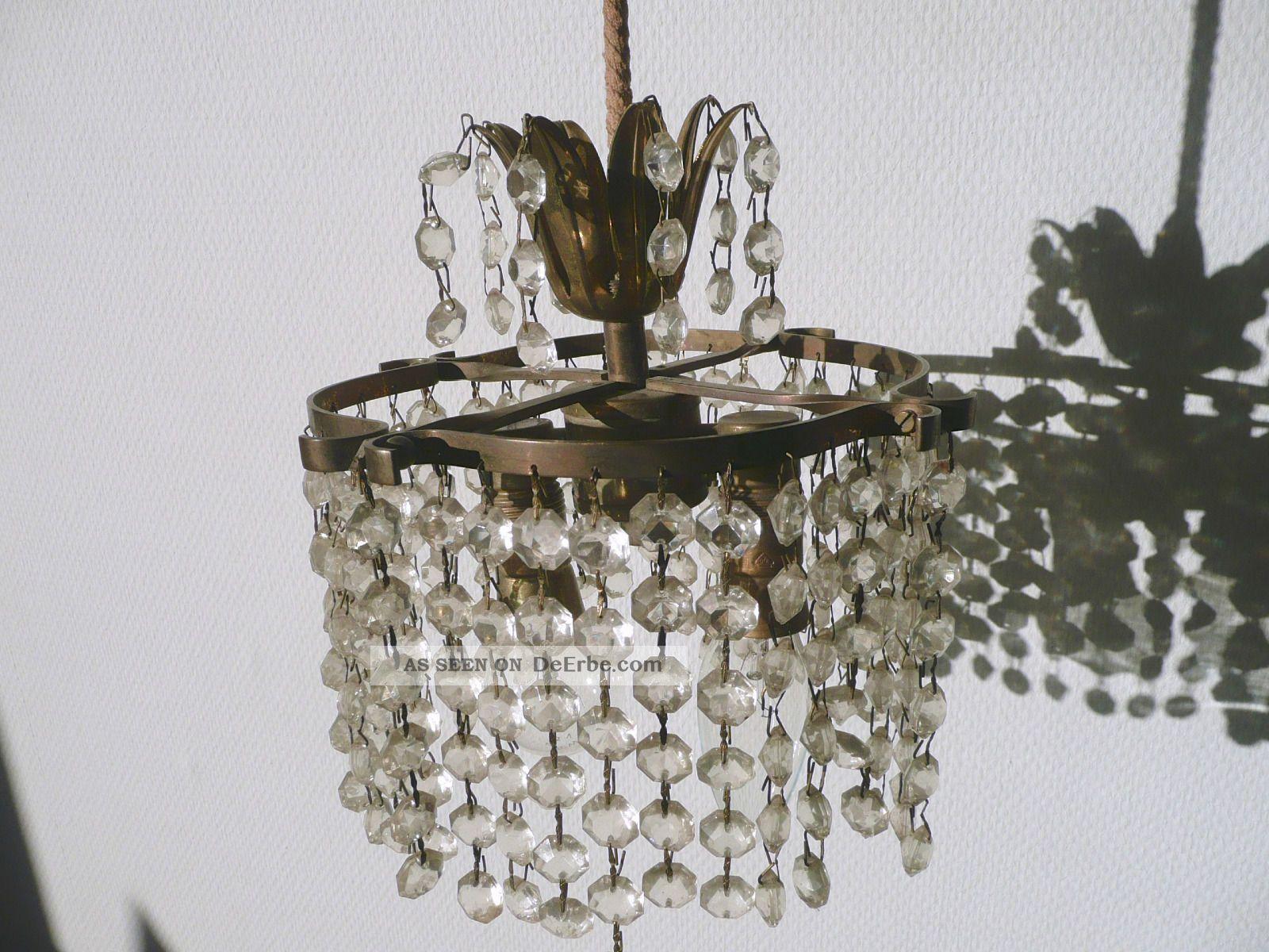 Kronleuchter Mit Glasschirm ~ Antike messing glas kristall kronleuchter lüster flammig wow