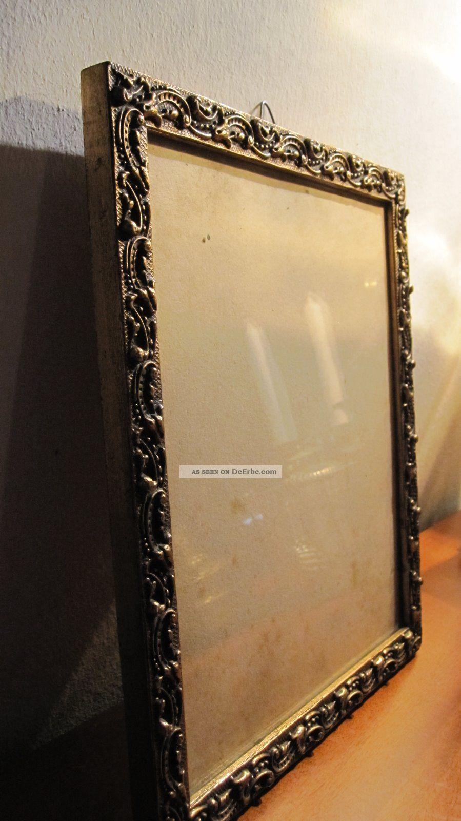 Kleiner Bilderrahmen, Alt, Holz, Gold Mit Muster, 24 X 28 Cm,