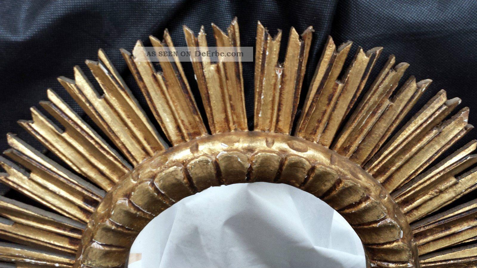 sonnenspiegel spiegel sun mirror 50 er jahre ca 52 cm vergoldet holz. Black Bedroom Furniture Sets. Home Design Ideas