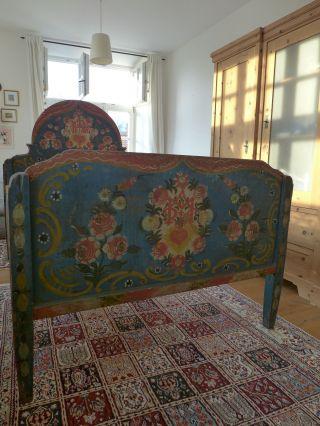 Altes Bemaltes Antikes Bauernbett Biedermeier Bett Um 1800 Bild