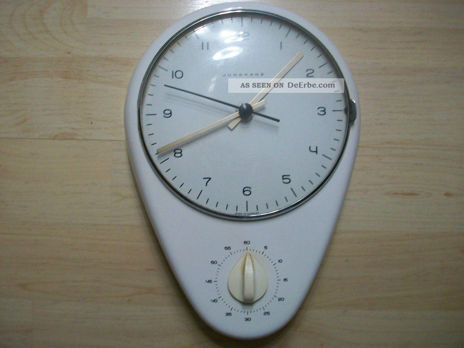 Junghans Max Bill Design Küchenwanduhr Mit Timer (kurzzeitmesser) Gefertigt nach 1950 Bild