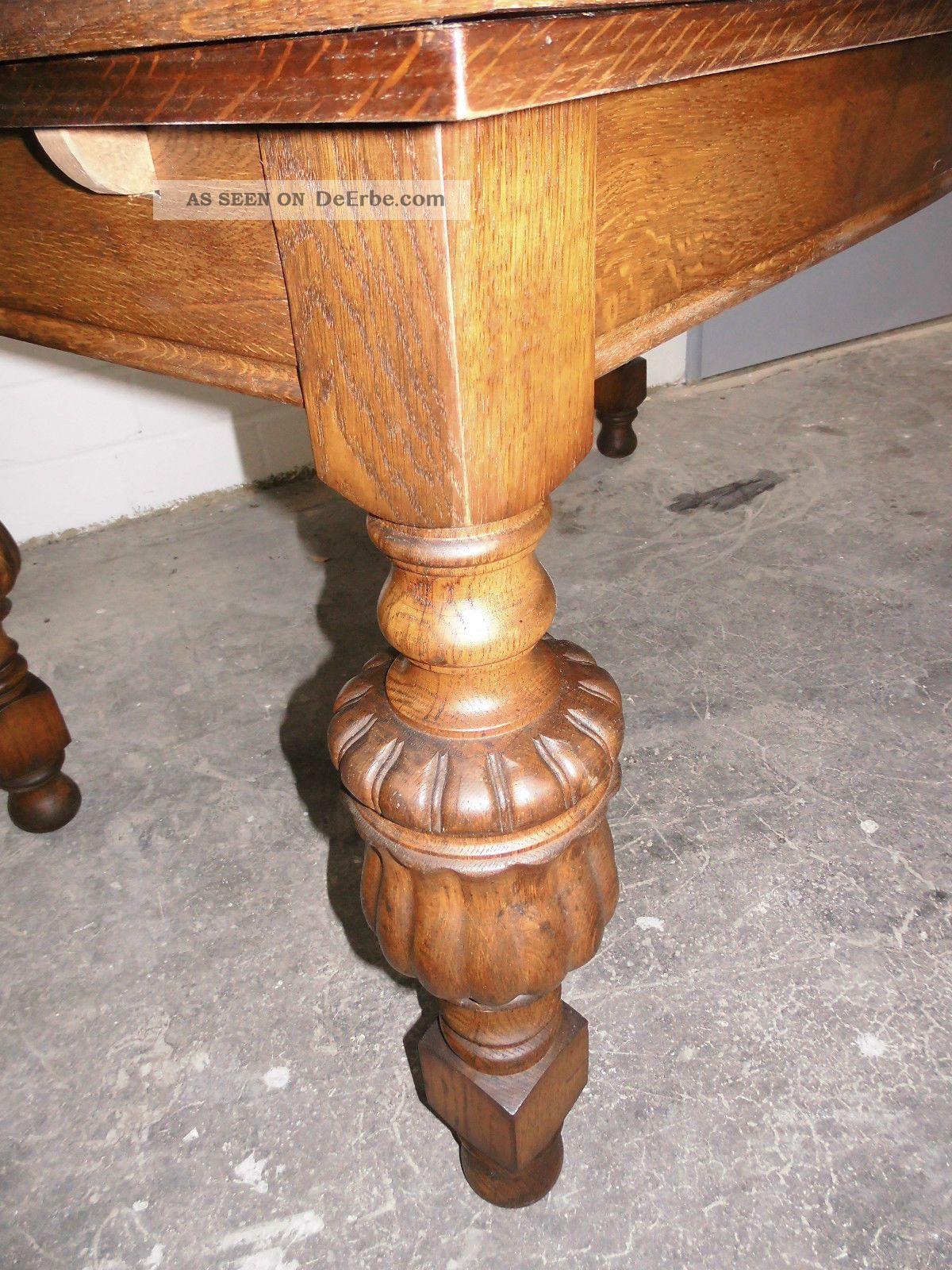 Antiker Tisch Gründerzeit Eiche Voll Massiv Ausziehbar