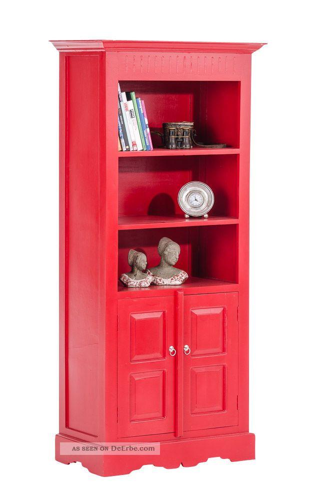b cherschrank james rot b cherregal massives holz schrank regal landhausstil. Black Bedroom Furniture Sets. Home Design Ideas