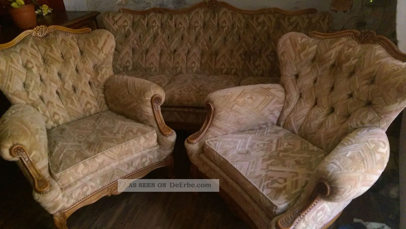 Vintage Couch 2 Sessel Chippendale Stilmobel