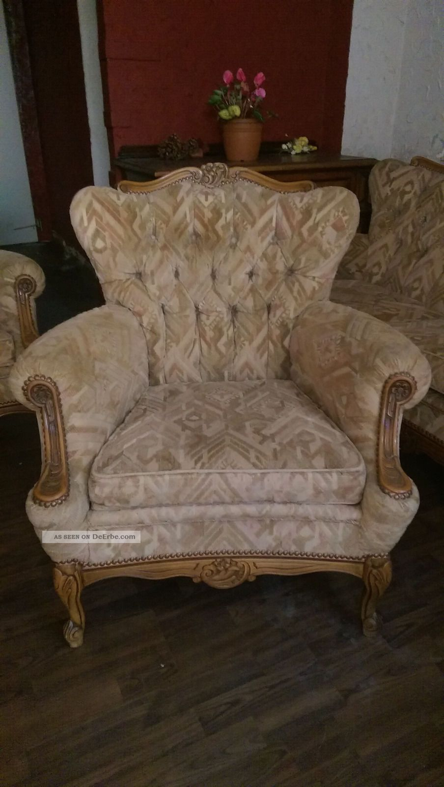 vintage couch 2 sessel chippendale stilm bel. Black Bedroom Furniture Sets. Home Design Ideas