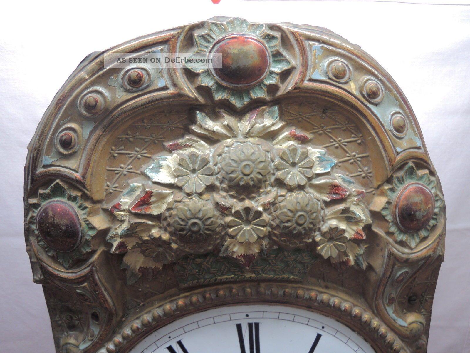 Antike Burgunder Uhr Comptoise Wanduhr Mit Prachtpendel