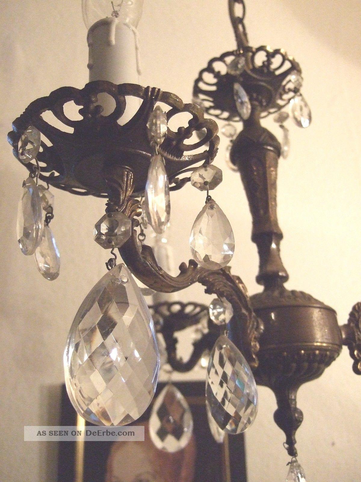 kronleuchter kristall 3 fl bronze lampe filigran antik shabby l ster vintage. Black Bedroom Furniture Sets. Home Design Ideas