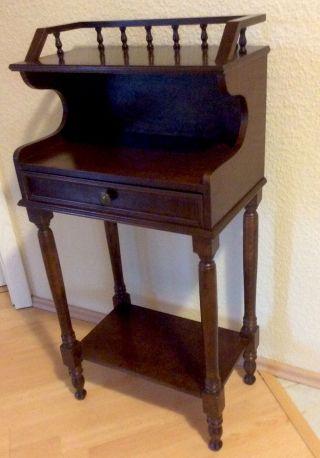 Dekorativer Kleiner Sekretär Telefontisch Stehpult Beistelltisch Nussbaumfarben Bild
