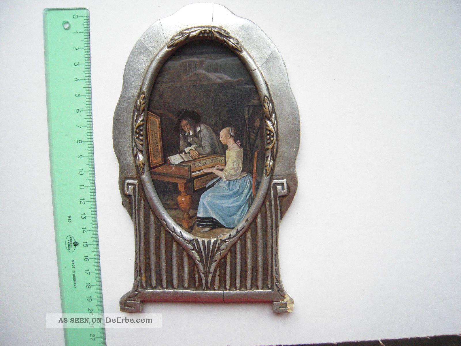 Seltener Bilderrahmen Oval, Holz Silbern Bemalt, Biedermeier ? 12 X ...