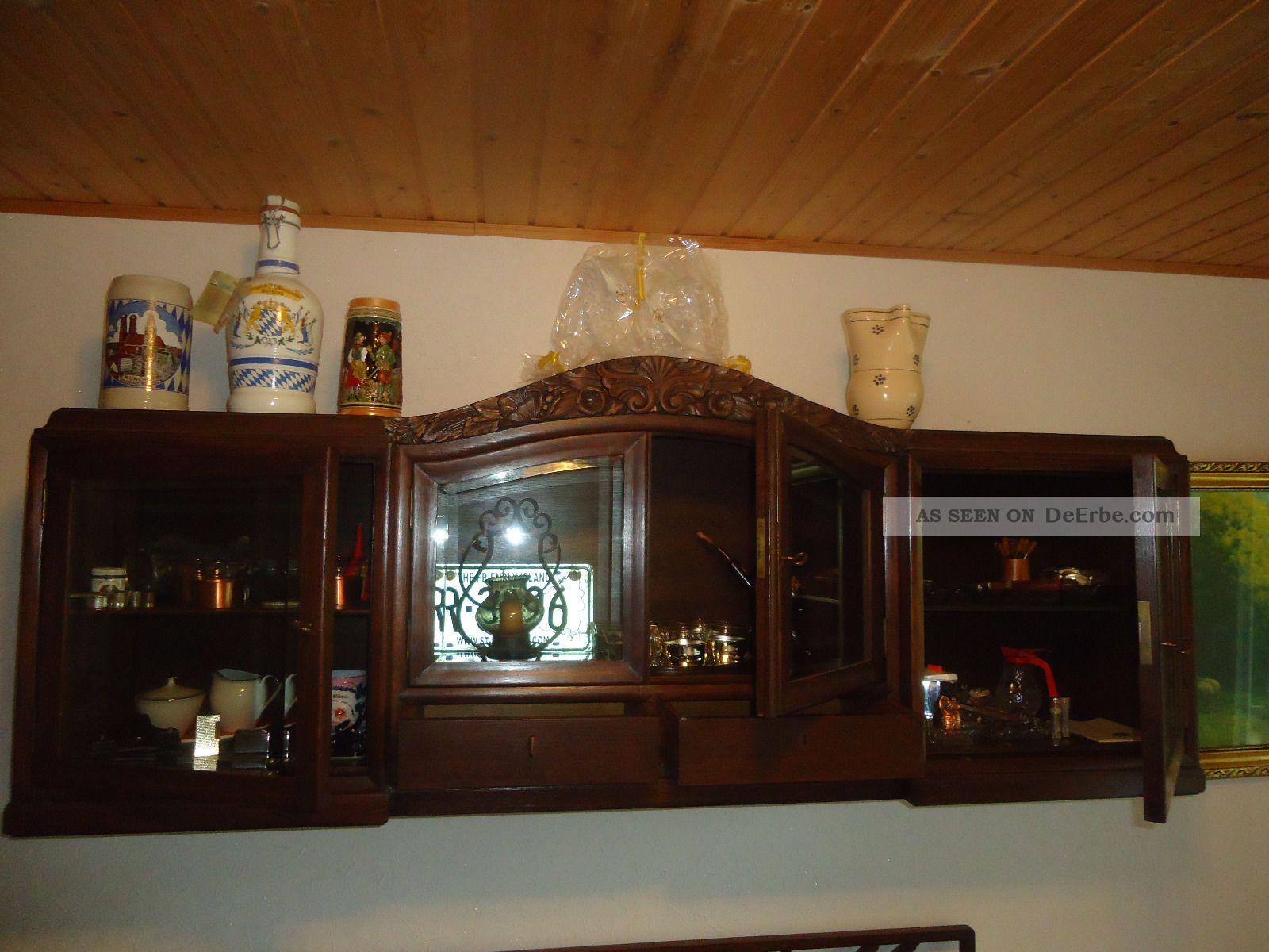 alter schrank h ngeschrank massiv holz verglast top. Black Bedroom Furniture Sets. Home Design Ideas