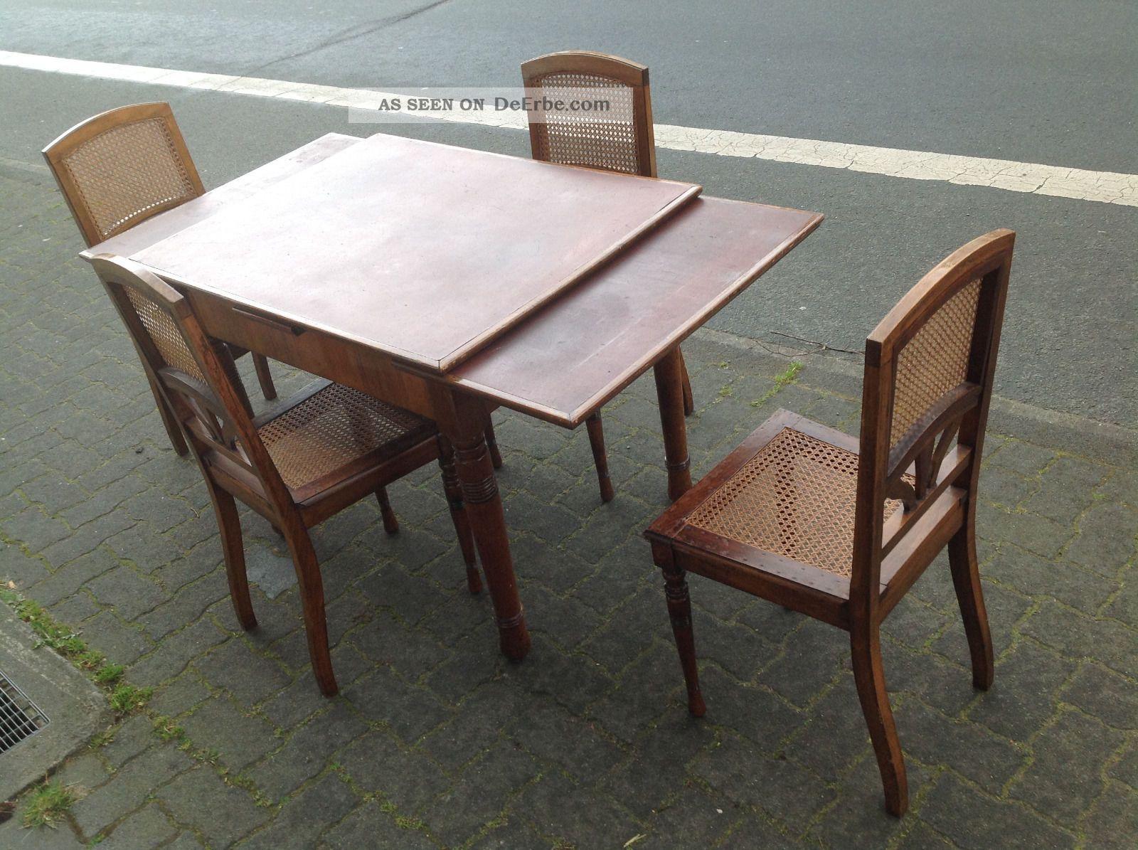 antik tisch und 4 st hle. Black Bedroom Furniture Sets. Home Design Ideas