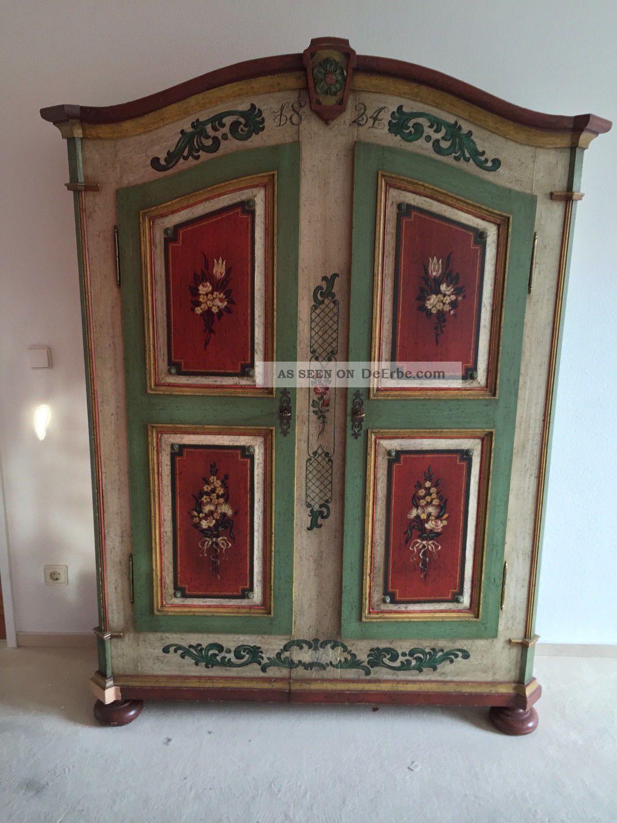 Antiker Engadiner Bauernschrank Von 1824 Kleiderschrank ...