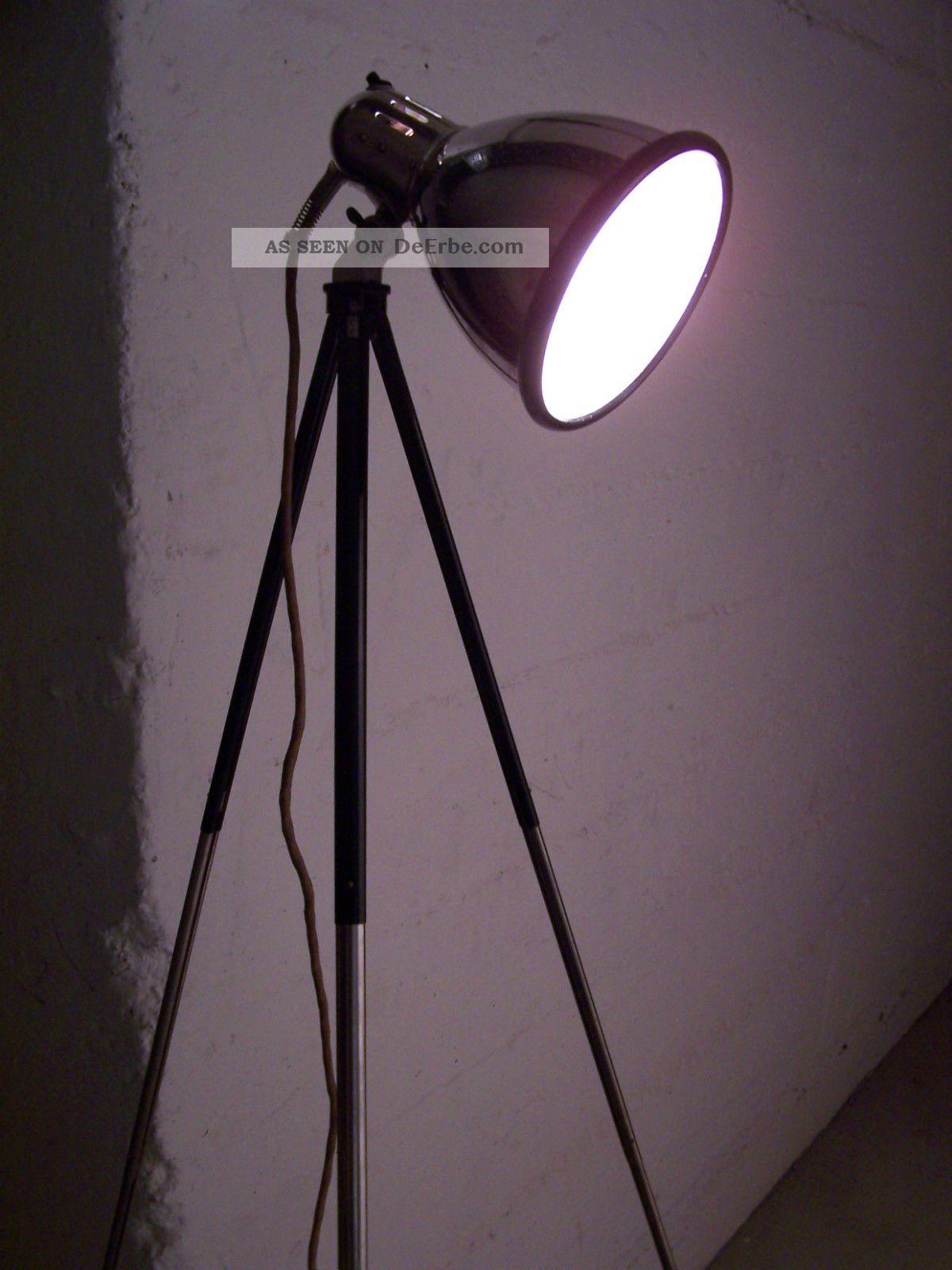 bauhaus stehlampe tripod lampe art deco chrom strahler. Black Bedroom Furniture Sets. Home Design Ideas