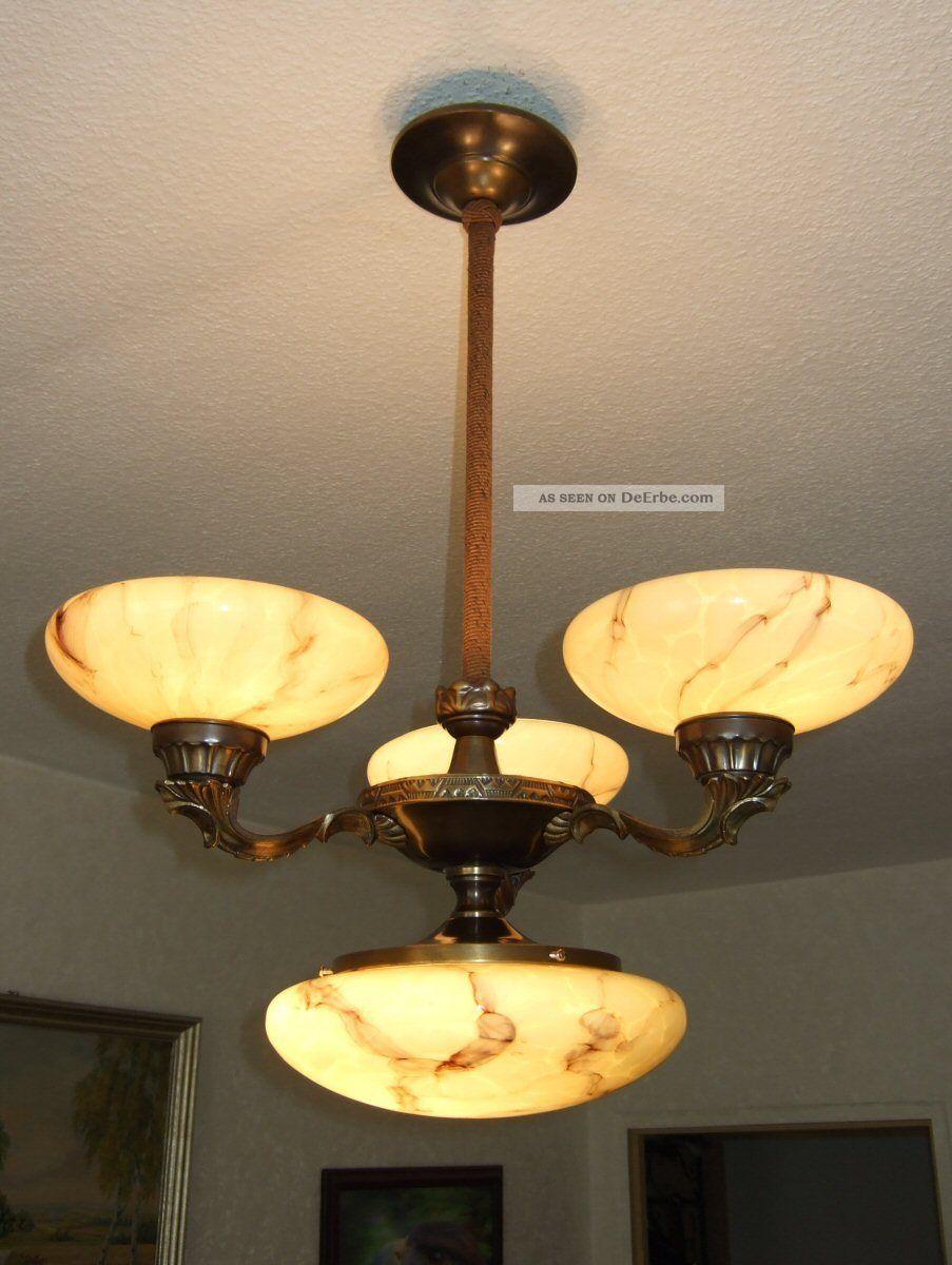 alte antike messing deckenlampe mittelleuchte marmorierte schalen jugendstil. Black Bedroom Furniture Sets. Home Design Ideas