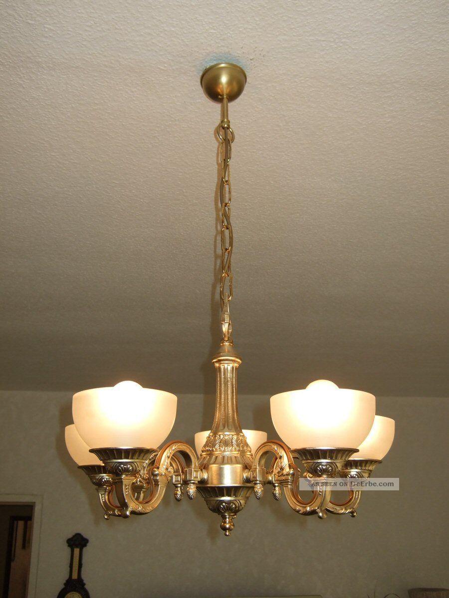 alte antike messing deckenlampe milchglasschalen jugendstil. Black Bedroom Furniture Sets. Home Design Ideas