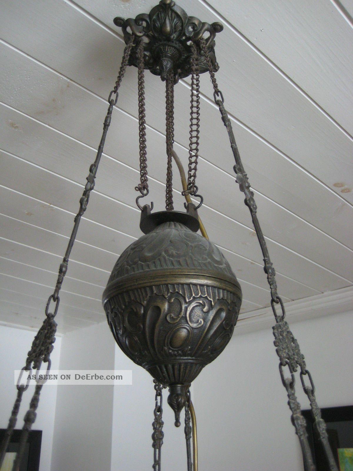antike petroleumlampe deckenlampe h ngelampe jugendstil 1900 elektrifiziert